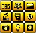 Industrial and electrical objects set glossy icon with Stock Images
