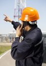 Industrial engineer chemical communication via phone Royalty Free Stock Image