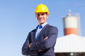 Industrial engineer male in mining site with arms crossed Royalty Free Stock Photo