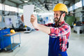 Industrial factory employee working in metal manufacturing industry Royalty Free Stock Photo