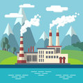 Industrial factory flat ecology vector concept background. Environmental protection Royalty Free Stock Photo