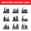 Industrial factory icons vector set Stock Photos