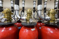 Industrial fire extinguishing system close up Stock Image