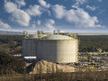 Industrial gas tanks with blue sky Royalty Free Stock Photography