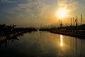 Industrial Harbor Landscape in Genoa, Italy Royalty Free Stock Photo
