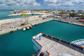 Industrial harbour logistic in a freeport bahamas Stock Images
