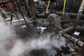 Industrial heavy pump and pipework steam reciprocating Stock Photos