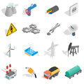Industrial icons set, isometric 3d style