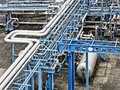 Industrial installation with white and blue colours Royalty Free Stock Photography