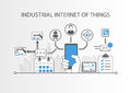 Industrial internet of things or industry 4.0 concept with simple icons on grey background Royalty Free Stock Photo