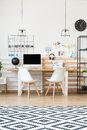 Industrial lamps above desk Royalty Free Stock Photo