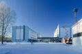 Industrial landmark buildings in the winter Royalty Free Stock Images