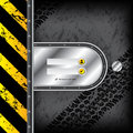 Industrial login interface with tire tracks dark grunge background Royalty Free Stock Photography
