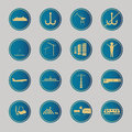 Industrial and logistic blue icons vector illustration Stock Images