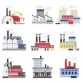Industrial manufactory buildings set, power and chemical plant, factory vector illustrations Royalty Free Stock Photo