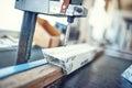 Industrial metal drilling tool in factory. Metal industry Royalty Free Stock Photo