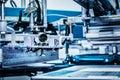 Industrial metal printing machinery. Royalty Free Stock Photo