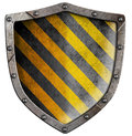 Industrial metal shield with rivets isolated Royalty Free Stock Photo