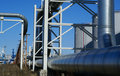 Industrial pipelines on pipe-bridge Stock Photography