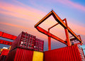 Industrial port with containers Royalty Free Stock Photo