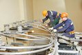 Industrial power electricians at work Royalty Free Stock Photo