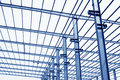 Industrial production workshop roof steel beam in a factory Royalty Free Stock Photos
