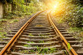 Industrial railway track in daytime Royalty Free Stock Photo