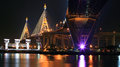 Industrial ring bridge aka king bhumibol across chao phraya river night bangkok thailand Stock Photography