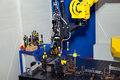 Industrial robot, close up of metal processing