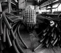 Industrial scene. Black and white Royalty Free Stock Photo