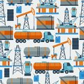 Industrial seamless pattern with oil and petrol icons extraction refinery facilities Royalty Free Stock Photo