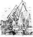 Industrial seaport vector drawing of the port of big city Royalty Free Stock Photos