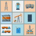 Industrial set of oil and petrol icon extraction refinery facilities Stock Photos