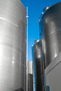 Industrial silos detail metal outdoor verical Stock Photography