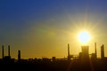 Industrial sunset shoot in spring time Stock Photography