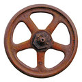 Industrial valve wheel and rusty stem old aged weathered rust grunge latch large detailed macro closeup isolated Royalty Free Stock Photography