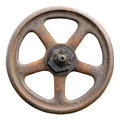 Industrial Valve Wheel And Stem, Weathered Grunge Latch Macro Royalty Free Stock Photo