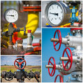 Industrial valves collage oil and gas Royalty Free Stock Image