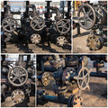 Industrial valves collage oil and gas Royalty Free Stock Photography