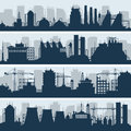Industrial vector skylines. Modern factory and works building silhouettes Royalty Free Stock Photo