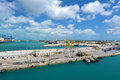 Industrial view in freeport bahamas a lot of ships and cranes ready for work Stock Image