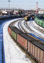 Industrial view with lot of freight railway trains waggons Royalty Free Stock Photo