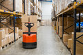 Industrial warehouse and forklift Stock Photography