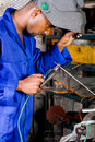 Industrial welder at work Royalty Free Stock Photography