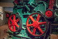 Industrial wheel gear in old paper machine Stock Photo