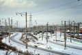 Industrial winter cityscape with railroads railroad in Royalty Free Stock Photos