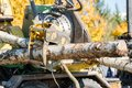 Industrial wood chipper in action Royalty Free Stock Photo