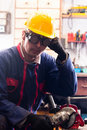 Industrial worker and his tools Stock Photography