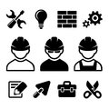 Industrial worker icons set and tools vector illustration Royalty Free Stock Photo
