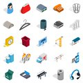 Industrial zone icons set, isometric style Royalty Free Stock Photo